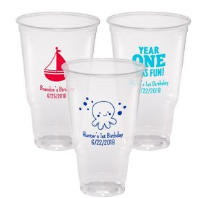 Personalized 1st Birthday Plastic Party Cups 32oz