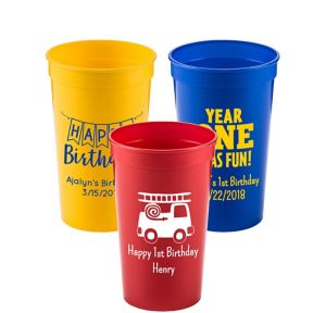 Personalized 1st Birthday Plastic Stadium Cups 22oz