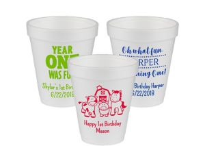 Personalized 1st Birthday Foam Cups 8oz