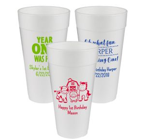 Personalized 1st Birthday Foam Cups 24oz