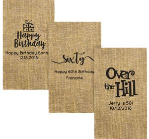 Personalized Milestone Birthday Burlap Print Guest Towels