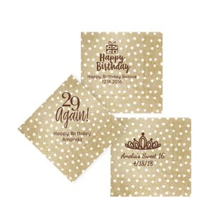 Personalized Milestone Birthday Small Dots Beverage Napkins