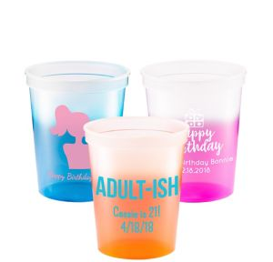 Personalized Milestone Birthday Color-Changing Plastic Stadium Cups 16oz