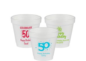 Personalized Milestone Birthday Foam Cups 4oz