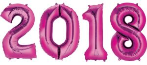 Pink 2018 Number Balloons 4pc