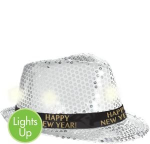 Light-Up Sequin Silver New Year's Fedora