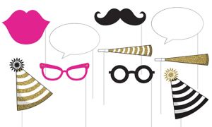 Black & Gold Party Photo Booth Props 10ct