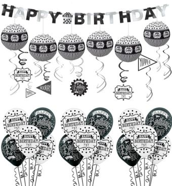 Chalkboard Dots Birthday Decorating Kit with Balloons