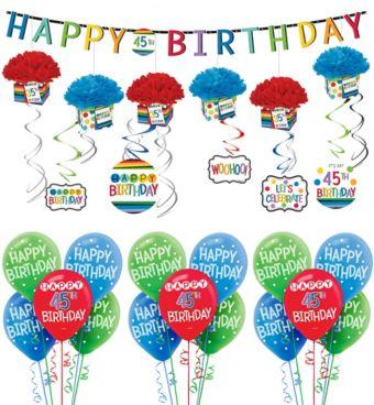 Rainbow Happy Birthday Decorating Kit with Balloons