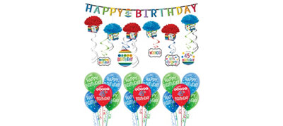 Rainbow Happy Birthday Decorating Kit with Balloons