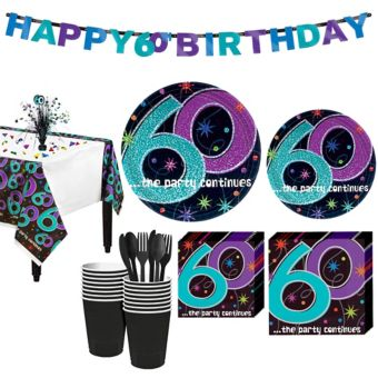 The Party Continues 60th Birthday Party Kit for 16 Guests