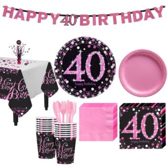 Pink Sparkling Celebration 40th Birthday Party Kit for 16 Guests