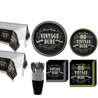 Vintage Dude 60th Birthday Party Kit for 16 Guests