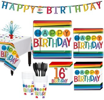 Rainbow 16th Birthday Party Kit for 16 Guests