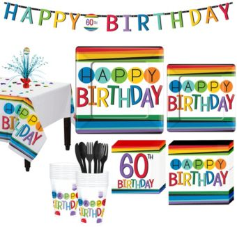 Rainbow 60th Birthday Party Kit for 16 Guests
