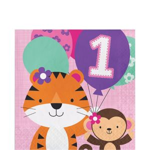 Pink One is Fun 1st Birthday Lunch Napkins 16ct