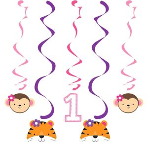 Pink One is Fun 1st Birthday Swirl Decorations 5ct