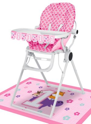 Pink One is Fun 1st Birthday High Chair Decorating Kit 2pc