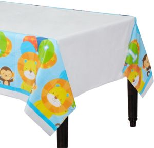 Blue One is Fun 1st Birthday Table Cover