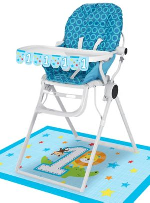 Blue One is Fun 1st Birthday High Chair Decorating Kit 2pc
