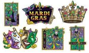 Jumbo Mardi Gras Cutouts 6ct