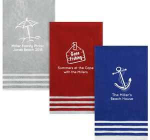 Personalized Summer Stripe Border Guest Towels