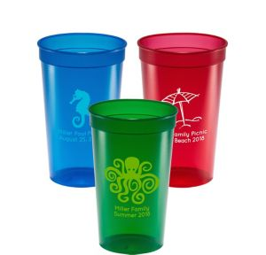 Personalized Summer Translucent Plastic Stadium Cups 22oz