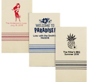 Personalized Luau Herringbone Guest Towels