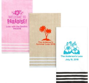 Personalized Luau Stripe Border Guest Towels