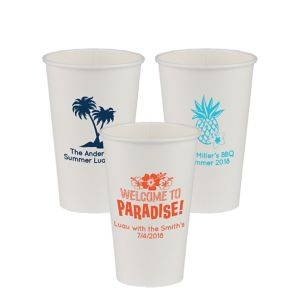 Personalized Luau Paper Cups 16oz