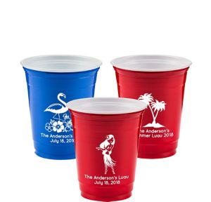 Personalized Luau Solid-Color Plastic Party Cups 12oz