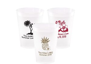 Personalized Luau Frosted Plastic Shatterproof Cups 12oz