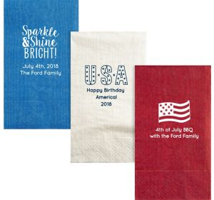 Personalized 4th of July Moire Guest Towels