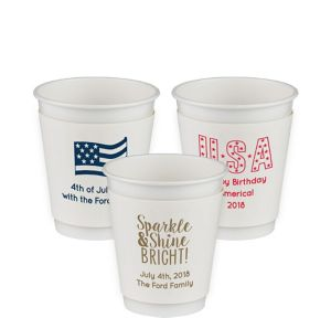Personalized 4th of July Insulated Paper Cups 12oz