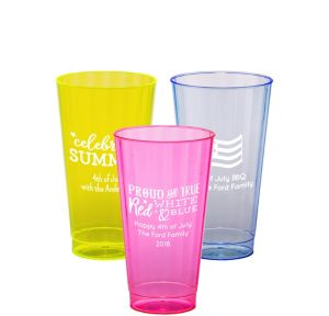 Personalized 4th of July Neon Hard Plastic Cups 16oz