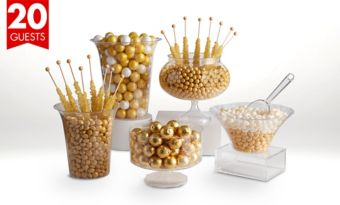 Gold Deluxe Candy Buffet Kit with Containers for 20 Guests