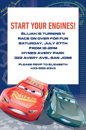 Custom Cars 3 Invitation