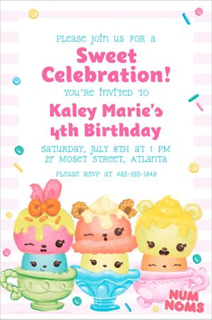 Custom Striped Num Noms Invitation