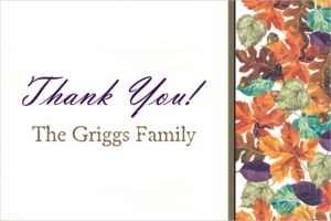 Custom Autumn Leaves Thank You Note