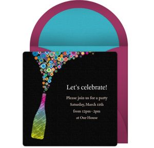 Online Champagne Pop Invitations