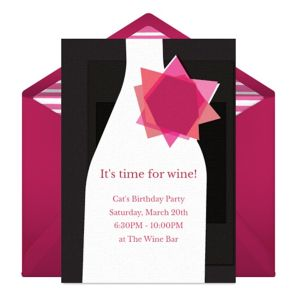 Online Chic Wine Bottle - Pink Invitations