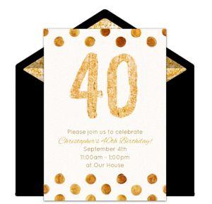 Online Golden 40 Invitations