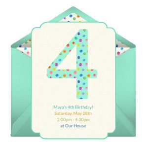 Online 4th Birthday Dots Invitations
