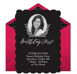 Online Fancy Birthday Girl - Pink Photo Invitations
