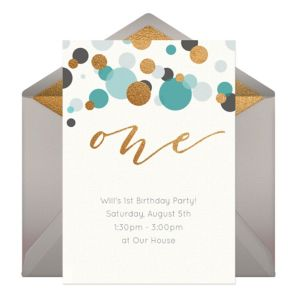 Online One Blue Invitations