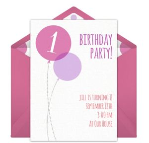 Online Pink Milestone First Birthday Invitations