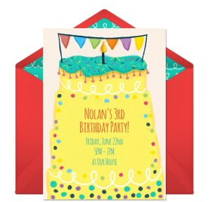 Online Curlicue Birthday Cake Invitations