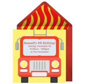 Online Firetruck Invitations