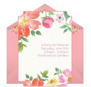 Online Watercolor Bouquet Invitations