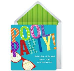 Online Colorful Pool Party Invitations
